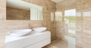 modern bathroom with glass showers - cornwall glass